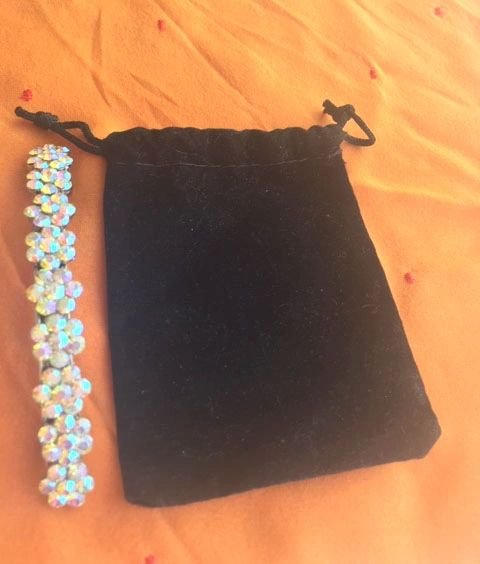 Festive Rhinestone Hair Barrette with a Velvet Pouch to Protect it