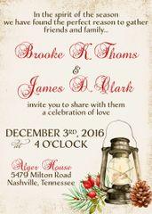 Rustic Christmas Lantern Wedding Invitation