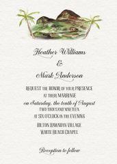 Watercolor Hawaii Wedding Invitation Suite
