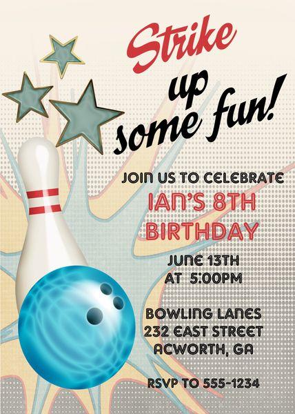 bowling birthday invitation sugar spice invitations custom
