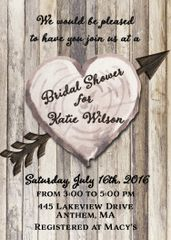 Wood Heart Bridal Shower Invitation