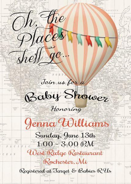 Hot Air Balloon Invitation Baby Girl Shower Invitation Sugar