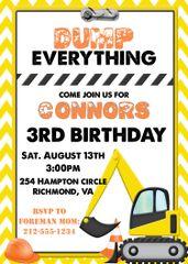 Construction Yellow Birthday Invitation
