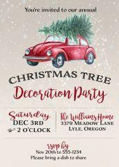 Christmas Tree Decoration Party Invitation