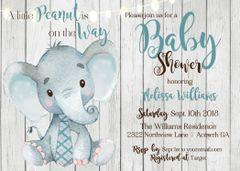 Rustic Elephant Baby Shower Invitation