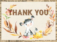 Farm Cow Thank You Card