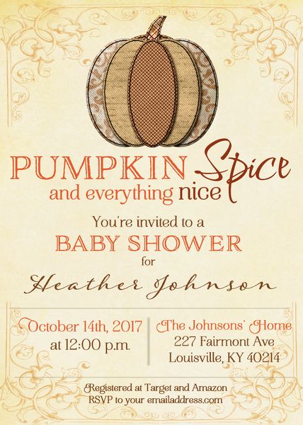 Pumpkin Spice Baby Shower Invitation