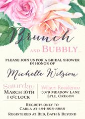 Brunch and Bubbly Bridal Shower Invitation Roses