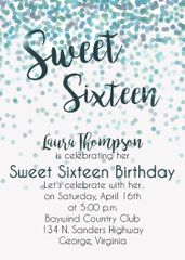 Blue & Green Sweet Sixteen Birthday Party Invitation