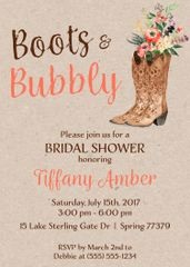 Boots & Bubbly Bridal Shower Invitation