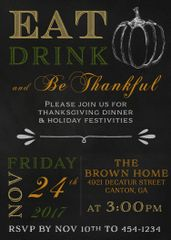 Eat, Drink and Be Thankful Dinner Invitaiton