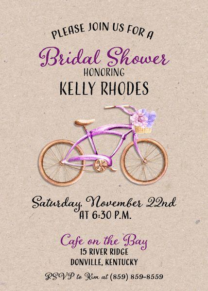 Bike bridal shower invitation sugar spice invitations custom bike bridal shower invitation filmwisefo
