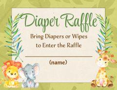 Diaper Raffle Card-Jungle