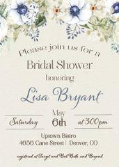 Watercolor Blue Bridal Shower Invitation
