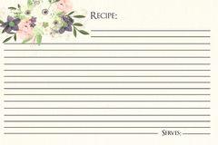 Watercolor Floral Recipe Card