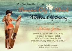 Bachelorette Beach Weekend Party Invitations