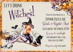 Let's Drink Witches Halloween Invitation