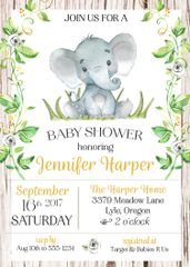 Baby Elephant Shower Invitation-Gender Neutral