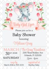 Baby Elephant Floral Shower Invitation
