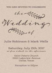 Vintage Kraft Wedding Invitation