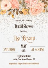 Rose and Gold Bridal Shower Invitation