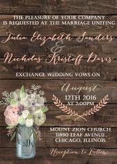 Spring Flowers Mason Jar Wedding Invitation