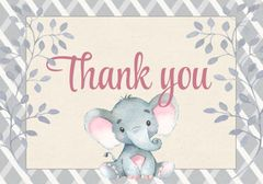 Elephant Thank You Card-Pink