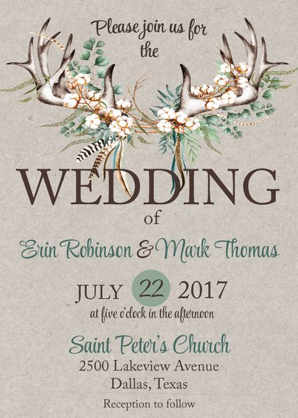 Boho Antlers & Cotton Wedding Invitation