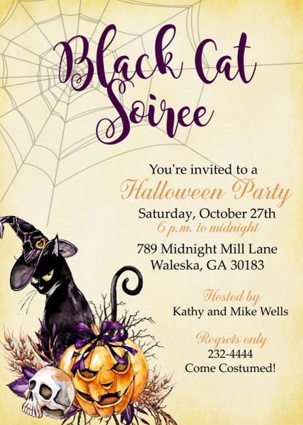 Black Cat Soiree Halloween Invitation