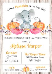 Elephant & Pumpkins Baby Shower Invitation