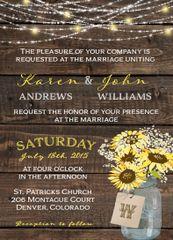 Sunflower Mason Jar Wedding Invitation