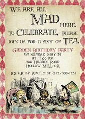 Mad Hatter Alice in Wonderland Birthday Invitation