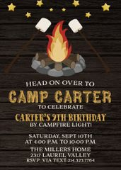 Bonfire Birthday Invitation