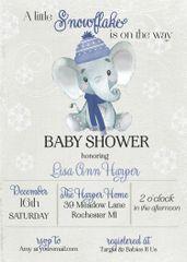 Winter Baby Elephant Shower Invitation