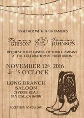 Cowboy Boots Western Wedding Invitation & Lights