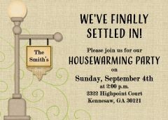 Lamp Post Housewarming Invitation
