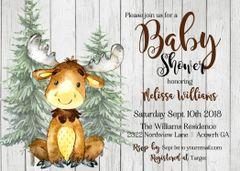 Woodland Moose Baby Shower Invitations