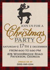 Rustic Plaid Christmas Party Invitation