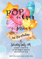 Balloon First Birthday Invitation