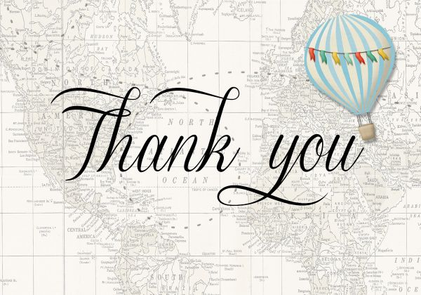 Hot Air Balloon Blue Thank You Card Sugar Spice Invitations