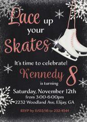 Lace up your Skates Birthday Invitation-Black