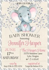Baby Elephant Shower Invitation