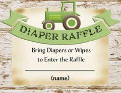 Diaper Raffle Card-Green Tractor