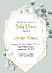 Eucalyptus Baby Shower Invitation