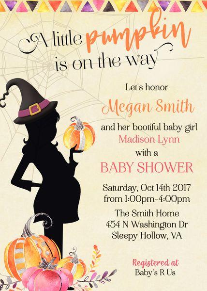Halloween Witch Baby Shower Invitation