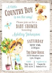 Country Boy Baby Shower Invitation