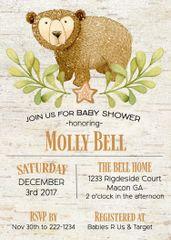 Winter Bear Baby Shower Invitation