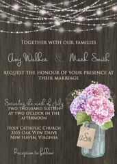 Hydrangea & Mason Jar Wedding Invitation