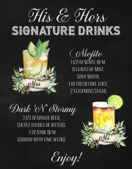 His and Hers Signature Drinks Bar Sign