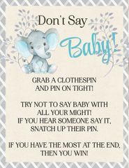 Don't Say Baby Elephant Blue Sign